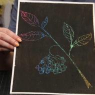 Kratzbilder mit Blumen machen geht einfach.