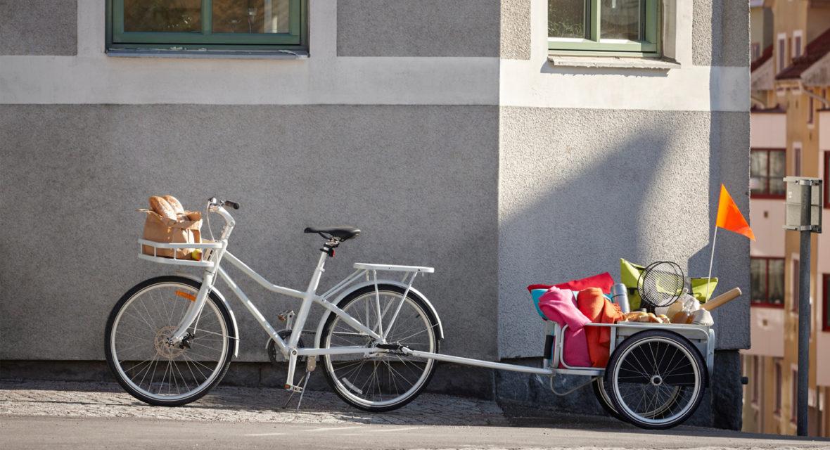 Ikea Fahrrad mit Korb und Anhänger