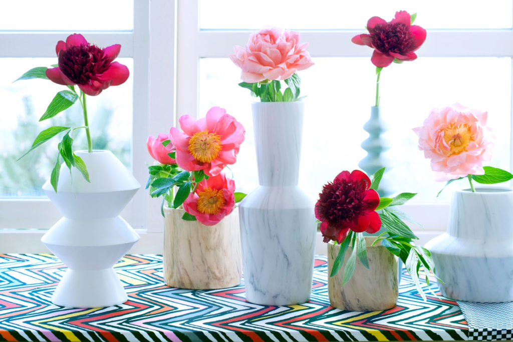 Blumentopf bekleben mit Marmor Folie