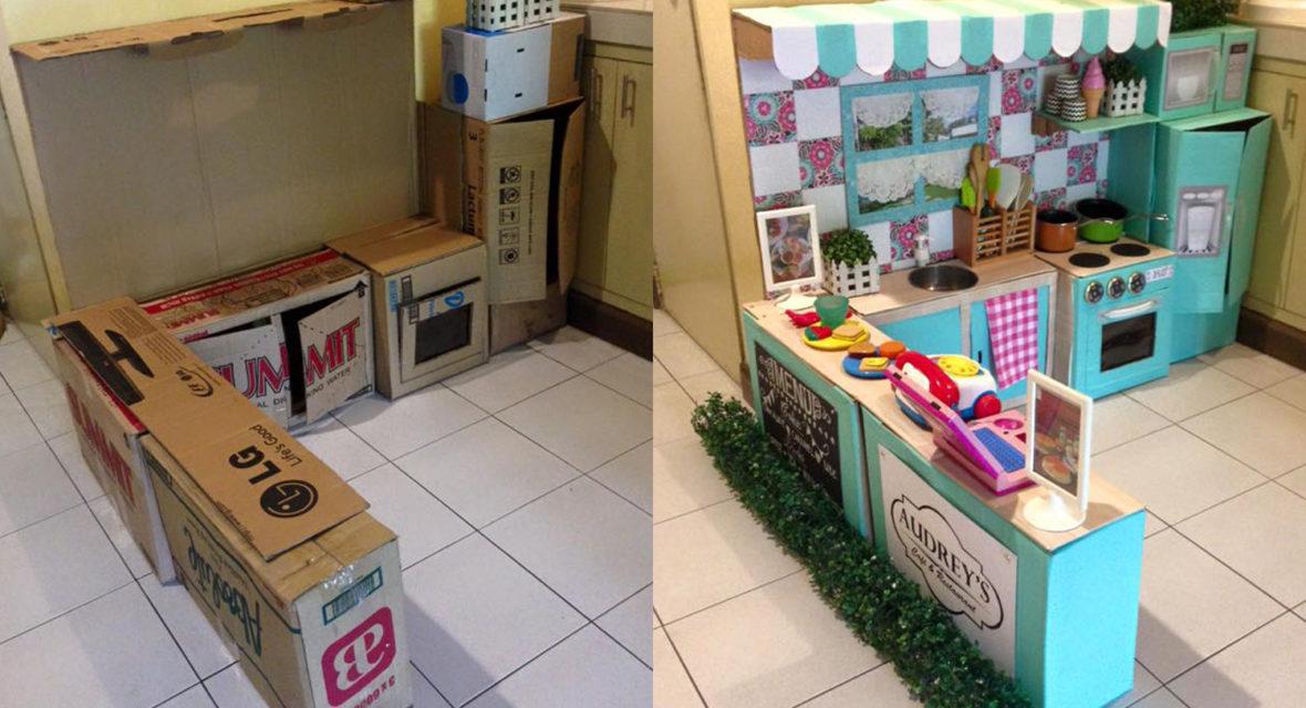 Spielküche vorher nachher aus Kartonss