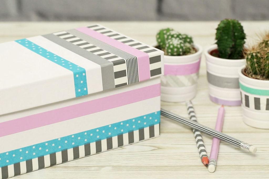 Kisten, Stifte und Blumentöpfe mit Masking Tape verzieren