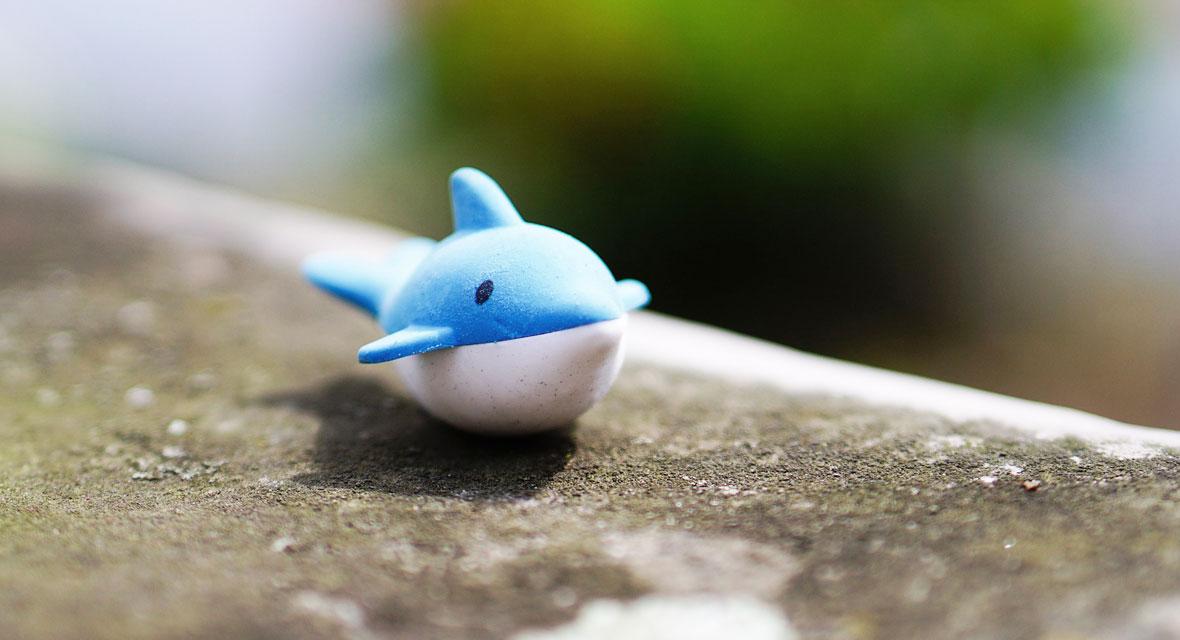 Ein Spielzeug Wal liegt auf einer Steinmauer