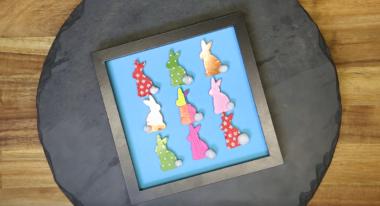 Osterhasenbild basteln aus Tonpapier